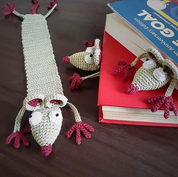 Handcrafted Amigurumi Rat Bookmark