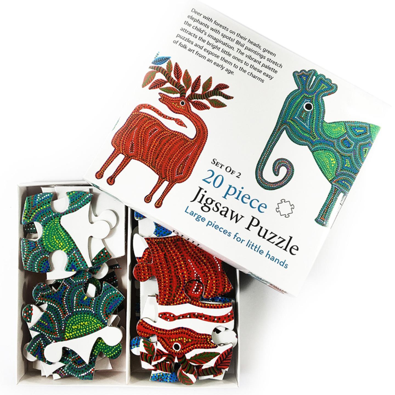 FroggMag - Jigsaw Puzzles - 20 pcs - Bhil Art - Animals