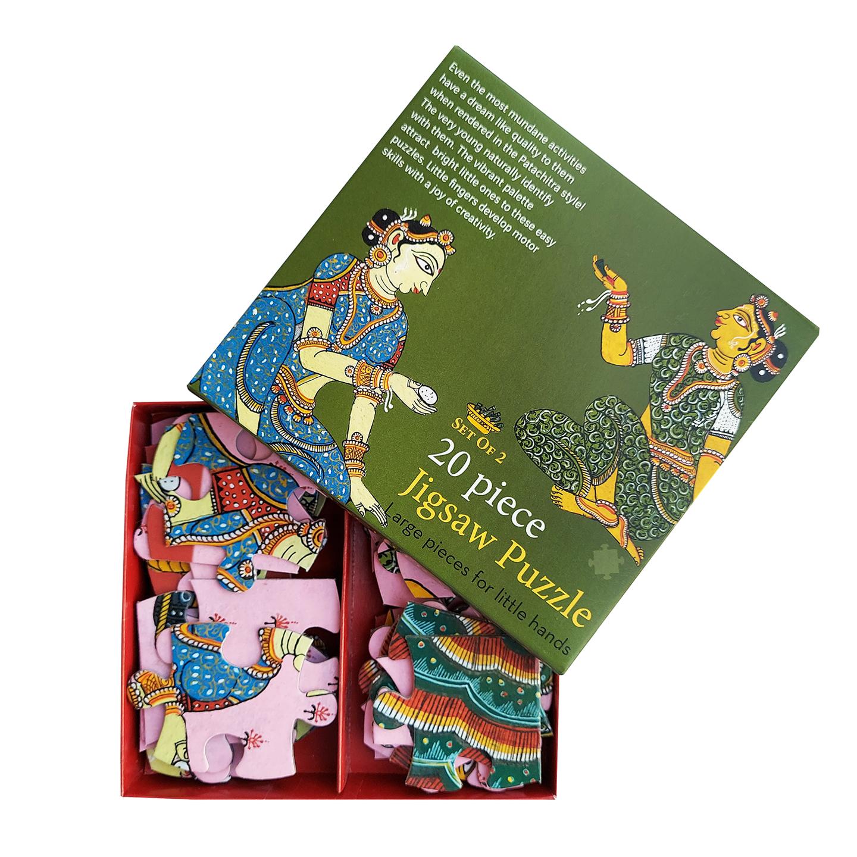 FroggMag - Jigsaw Puzzles - 20 pcs - Patachitra Art - Ladies